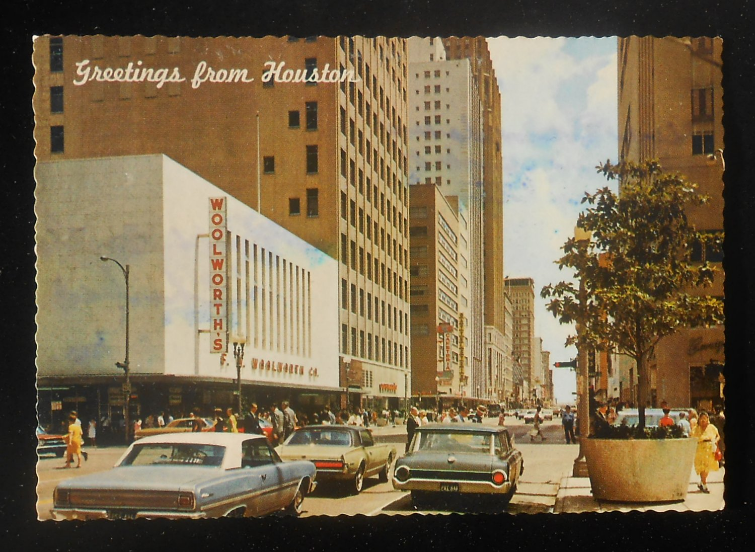 1968 Street View Old Cars Woolworth S Store Houston Tx Harris Co Postcard Texas Ebay