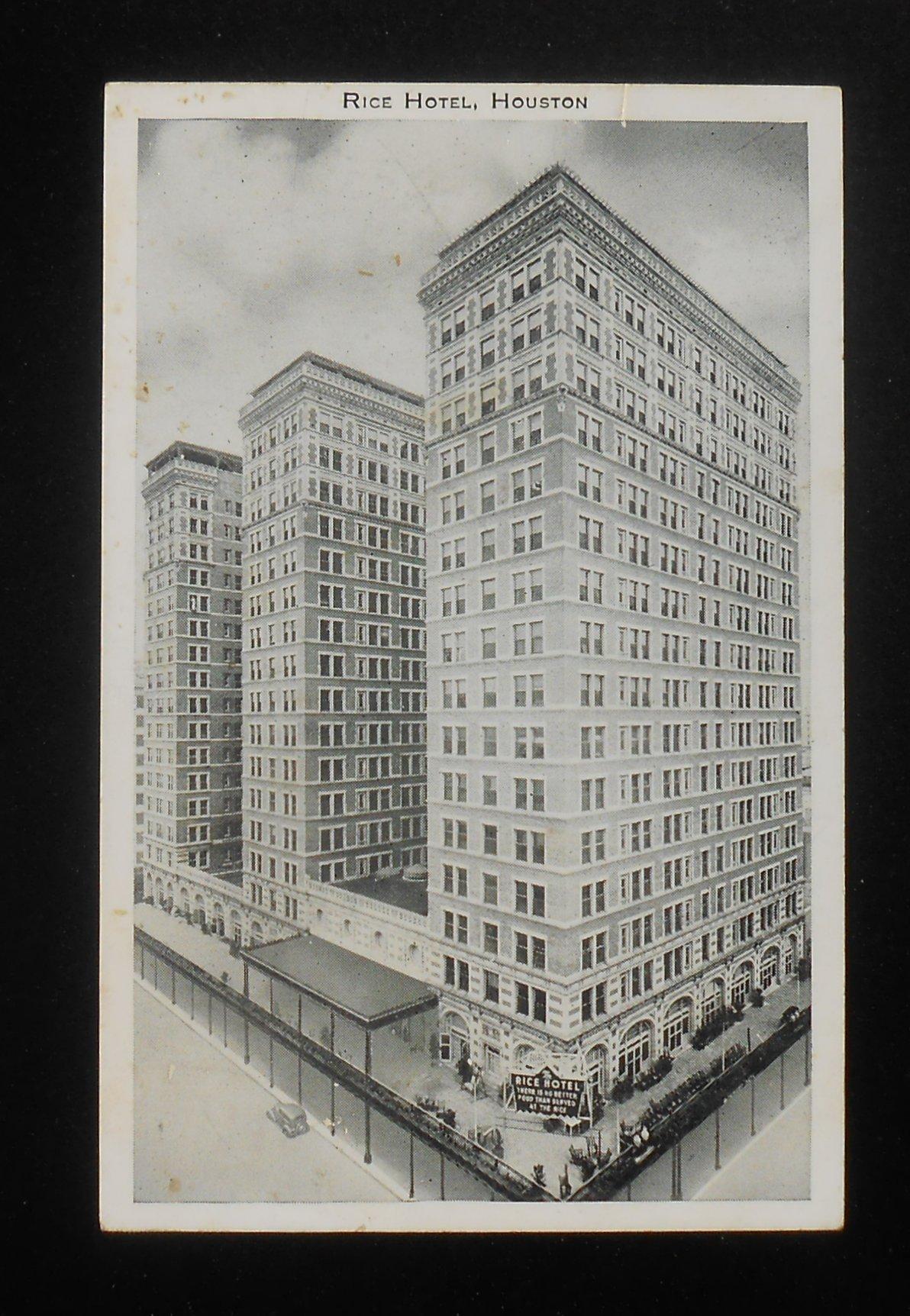 1930s Rice Hotel 1000 Rooms Houston Tx Harris Co Postcard Texas Ebay