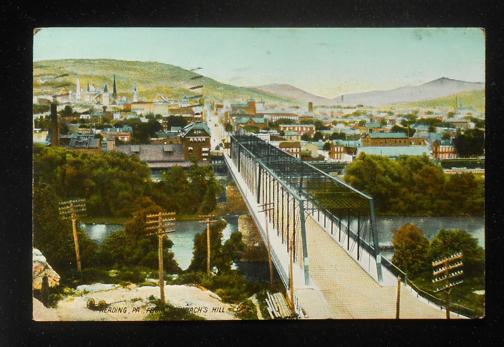 Details about 1911 from Leinbach's Hill Penn Street Bridge PRR Railroad  Station Reading PA PC