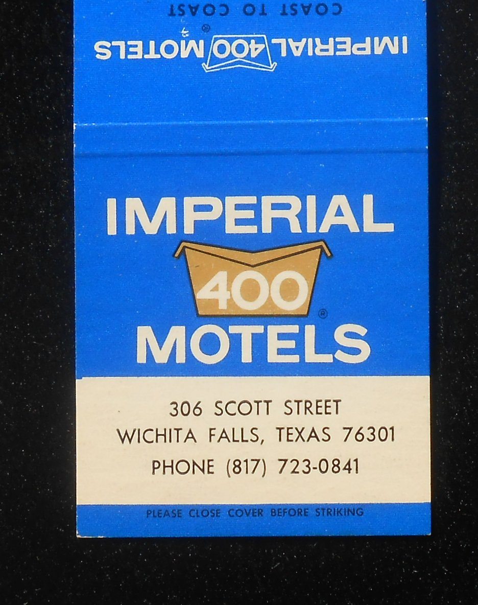 1960s Imperial 400 Motel 306 Scott Street Wichita Falls Tx Wichita Co Matchbook Ebay